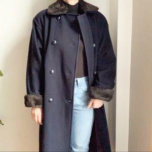 Vtg Wool Cashmere Blend Coat Blue Navy Faux Fur 8